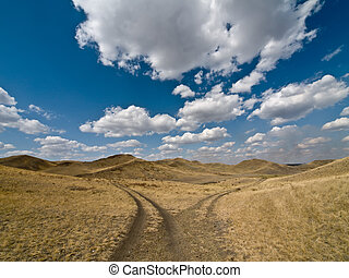 Two way - Fork of unmetalled road in South Ural mountains. ...
