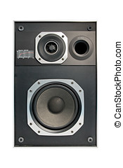 Two way hifi audio speaker, isolated in white