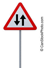 Two Way Road Sign  - Two way road sign isolated on white