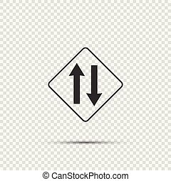Two way traffic ahead sign on transparent background