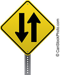 Two-way traffic sign - Two-way traffic warning sign....