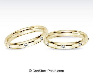 Two Wedding Diamond Rings. Vector