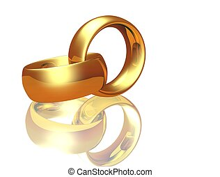 Two wedding ring on a white background