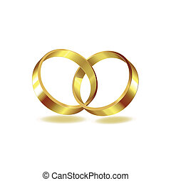 Two wedding ring on white background