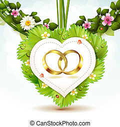 Two wedding ring on white shape heart