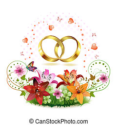 Two wedding ring with hearts and decorated flowers isolated on white background