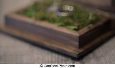 Two wedding rings lie in a wooden casket on green vegetation.