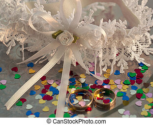 Two wedding rings on a background