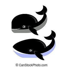 Whale Icons Isolated