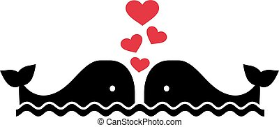Two whales in love with hearts