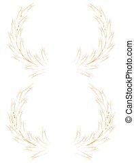 Two Wheat ears Wreath. EPS 10