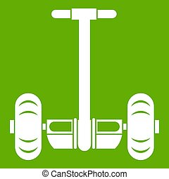 Two wheeled battery powered vehicle icon green
