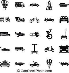 Two wheeler icons set, simple style - Two wheeler icons set....