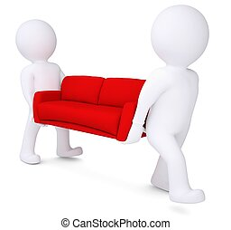 Two white 3d man bear red sofa. Isolated render on a white...