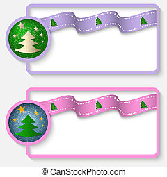 two white abstract text frame with a Christmas tree and ribbon