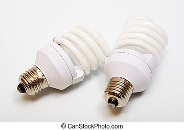 energy saving bulbs - Two white and modern energy saving...