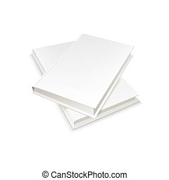 Two white blank books