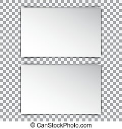 Two white blank poster mockup, sheet of paper on transparent background