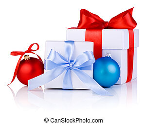 Two White boxs tied with a satin ribbon bow, red and blue Christmas balls Isolated on white background