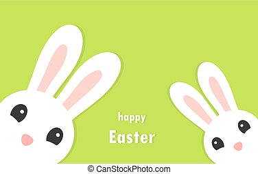 Two white bunnies, Easter greeting card.