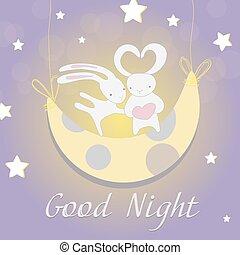 Two white Bunny moon night