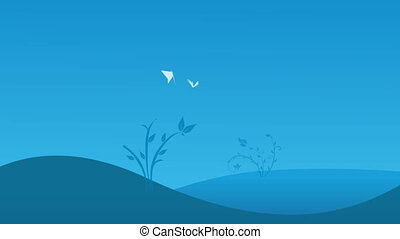 Two white butterflies on the blue field background
