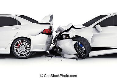 Two white car crash - Two car crash on white background. 3d...