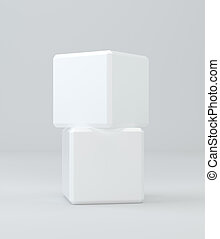 Two white cubes isolated on background. 3d rendering