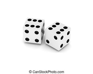 Two white dice isolated on white background. High quality 3d render.