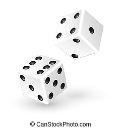 Two white dice isolated on white background. Vector...