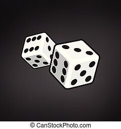 Two white dices isolated on black background. vector illustration.
