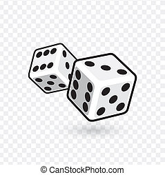 Two white dices isolated on transparent background. vector illustration.