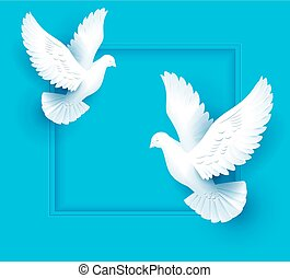 Two white dove fly on blue background