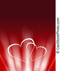 two white glowing hearts valentine