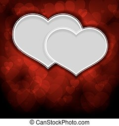 Two white hearts on a red background