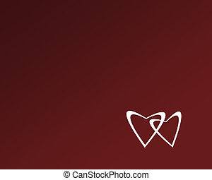 Two white hearts on red background