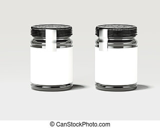 Two white jars with silver labels. 3d rendering