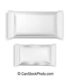 Two white packaging on a white background. Vector illustration