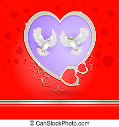Two white pigeons with golden heart