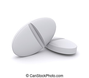 Two white pills on white background