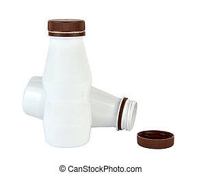Two White Plastic Bottles - Isolated