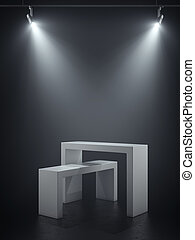 Two white podiums in the spotlights. 3d rendering