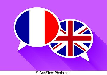 Two white speech bubbles with France and Great britain flags