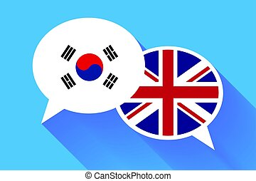 Two white speech bubbles with South Korea and Great britain flags.