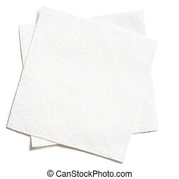 two white square paper napkins isolated