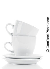 two white stapled coffee cups on white background