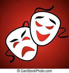 Two white theatrical mask on burgundy background
