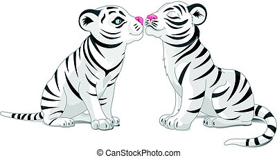 Two White Tigers in Love - Illustration of two white tigers...