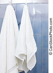 Two white towels hanging on shower doors