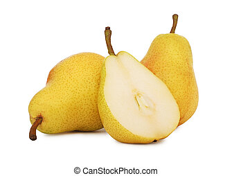Two whole and a half yellow pears isolated on white background